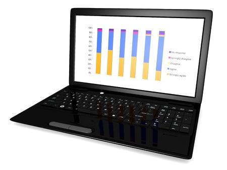 analyse: L'image 3D d'un ordinateur portable avec un graphique sur l'�cran isol� sur un fond blanc Banque d'images