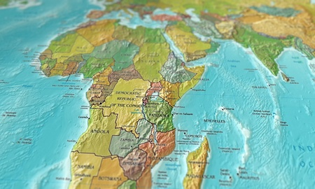 3D image of a map of africa focused en shot at an angle