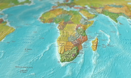 3D image of a map of southern africa focused en shot at an angle