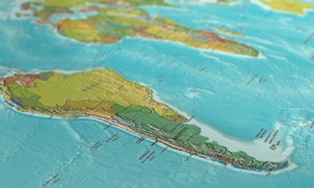 3D image of a map of South America, shot at an angle and focused on the continent photo
