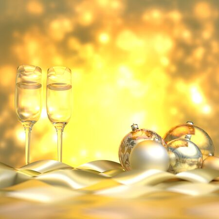 gold en: Illustration of christmas ornaments en champagne flutes with a gold background Stock Photo