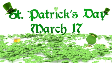 march 17: Illustration of Saint Patricks Day text on March 17