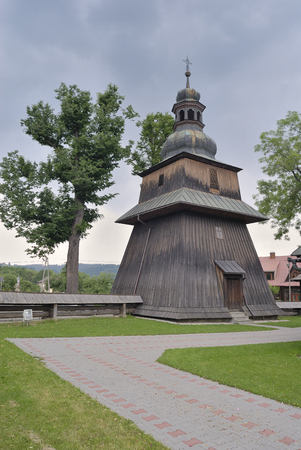 belfry: wooden belfry in the village of Spytkovice, Poland, Europe