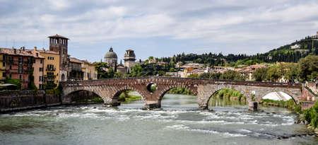 verona: Stone bridge over Adige river in Verona