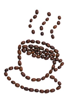 Coffee cup shape made of coffee seeds. Clipping path included. Stock Photo - 937623