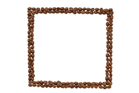 bounding: Square frame made of coffee beans - isolated on white.