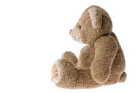 vintage teddy bears: Seduta orsacchiotto - isolati su bianco.