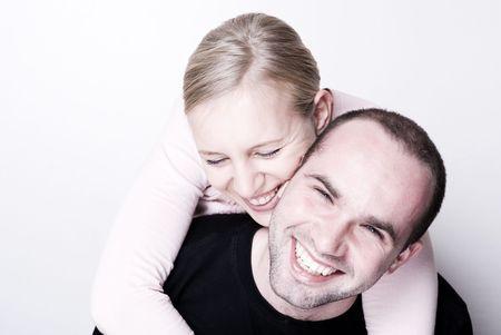 Happy couple - focus on the girl. photo