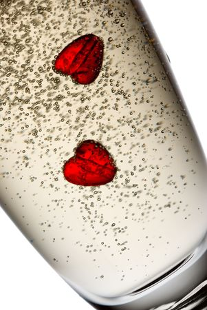 Two hearts in champagne. Stock Photo - 2518010