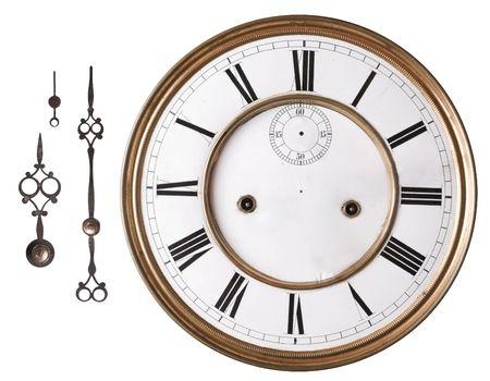 reloj antiguo: Antiguo reloj de la cara y las manos aisladas en blanco.