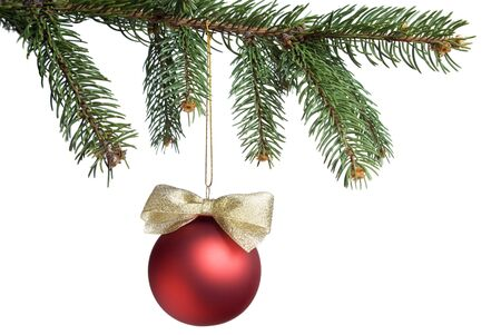 Christmas ball hanging on the spruce twig. White copy space. aRGB. Stock Photo - 4015106