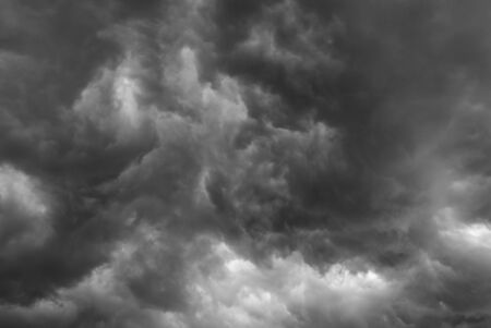 Dark, stormy sky. Black and white. photo