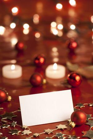 Christmas decoration with blank card. Selective focus, aRGB. photo