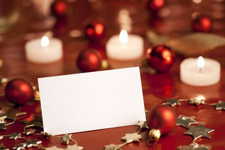 Christmas decoration with blank card. Selective focus, aRGB. Stock Photo - 6033647