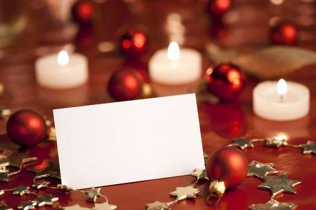 Christmas decoration with blank card. Selective focus, aRGB. Stock Photo - 6033647