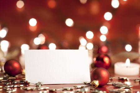 Christmas decoration with blank card. Selective focus, aRGB. Stock Photo - 6033648
