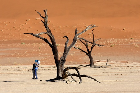 sossusvlei: A Couple in love at Deadvlei, Sossusvlei. Stock Photo