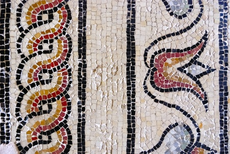 the architecture is ancient: Roman mosaic