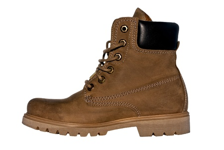 steel toe boots: old brown working boot Isolated on white background Stock Photo