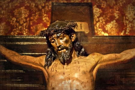 crucifiction: Jesus on the cross, carved in polychrome wood