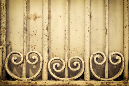 metal grate: Old rusted metal decorative grate Stock Photo