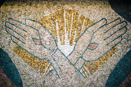 Mosaic tile Crucified hands of Jesus,