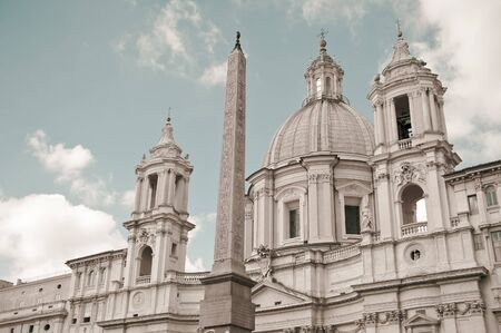 Saint Agnese in Agone with Egypts obelisk in Piazza Navona, Rome, Italy