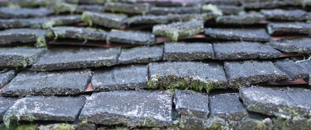 damaged roof: close up wooden roof moss Stock Photo