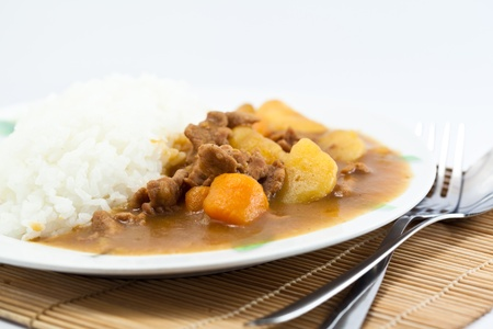 close up Curry pork with rice