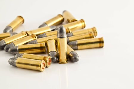 munition: bullets for gun on white background