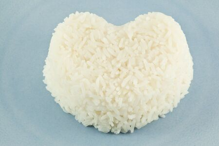 enriched: close up Heart shaped white rice