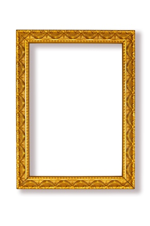 Golden frame on white background Stock Photo