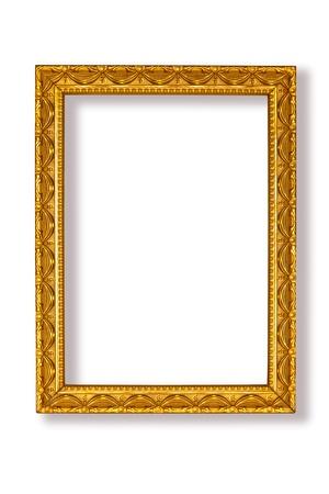 marcos decorados: Marco de oro sobre fondo blanco Foto de archivo