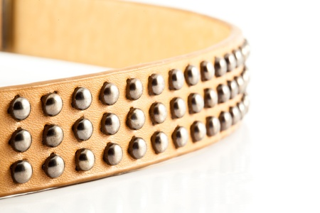 Leather belt decorated with metal beads