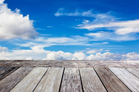 space area: Wooden balcony in the blue sky background Stock Photo
