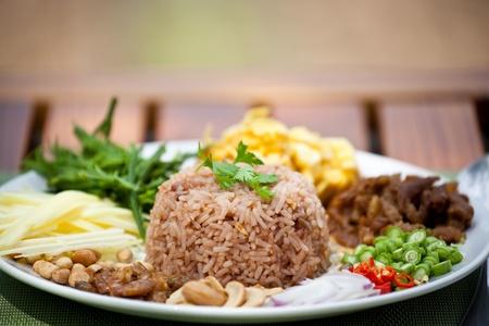 preparing food: fry  rice with the shrimp paste, Thai food
