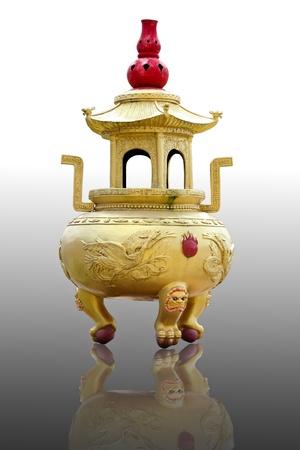 incense burner isolated on white background photo