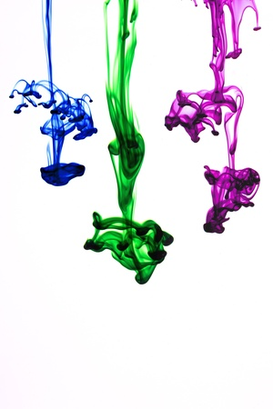 ink colors flowing in water  on white background Stock Photo