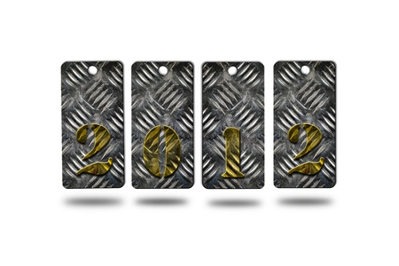 clicker: new year 2012 made from metal sheet on white background
