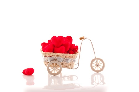 Bicycle with red heart on white background Stock Photo - 12463764