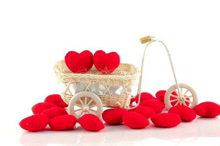 amour: Bicycle with red heart on white background Stock Photo