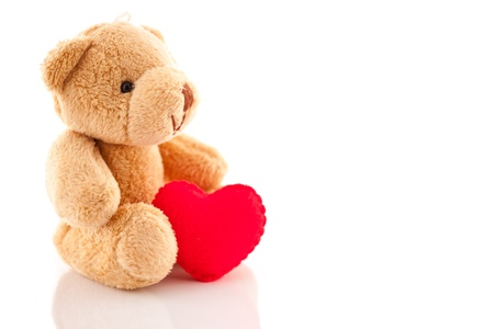 bear with a  red heart isolated on white Stock Photo