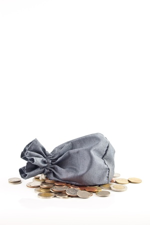 bag and coin on white background Stock Photo - 13699095