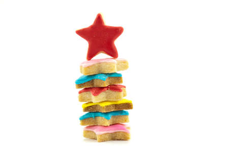 color star cookies on white background