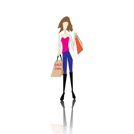 shoppingbag: shopping girl on white background