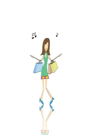 hurrying: shopping girl on white background