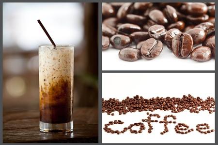 ice coffee and coffee bean set photo