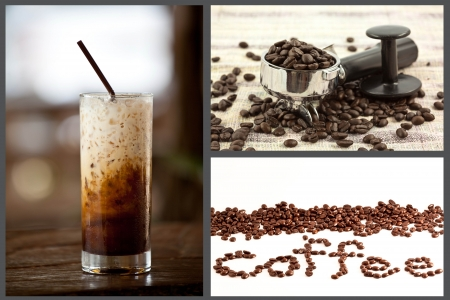 latte: ice coffee and coffee bean set