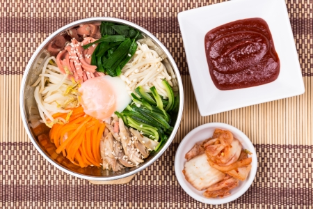 bibimbap, The introduction of various kinds of vegetables mixed with spicy sauce photo