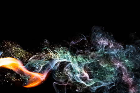 smoke: Abstract smoke isolated on dark background Stock Photo